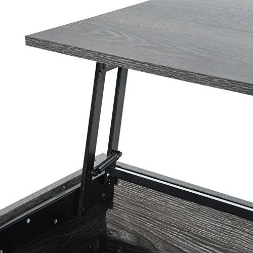 "HOMCOM 39"" Lift Top Coffee Table with Storage - Grey"