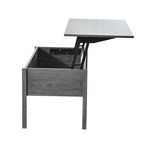 HOMCOM Modern Top Coffee Desk with Storage Grey Woodgrain