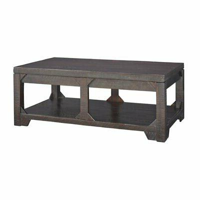 Bowery Hill Lift Top Coffee Table in Rustic Brown
