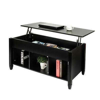 Modern Lift Top Coffee End Table Wood w/Storage Space Living