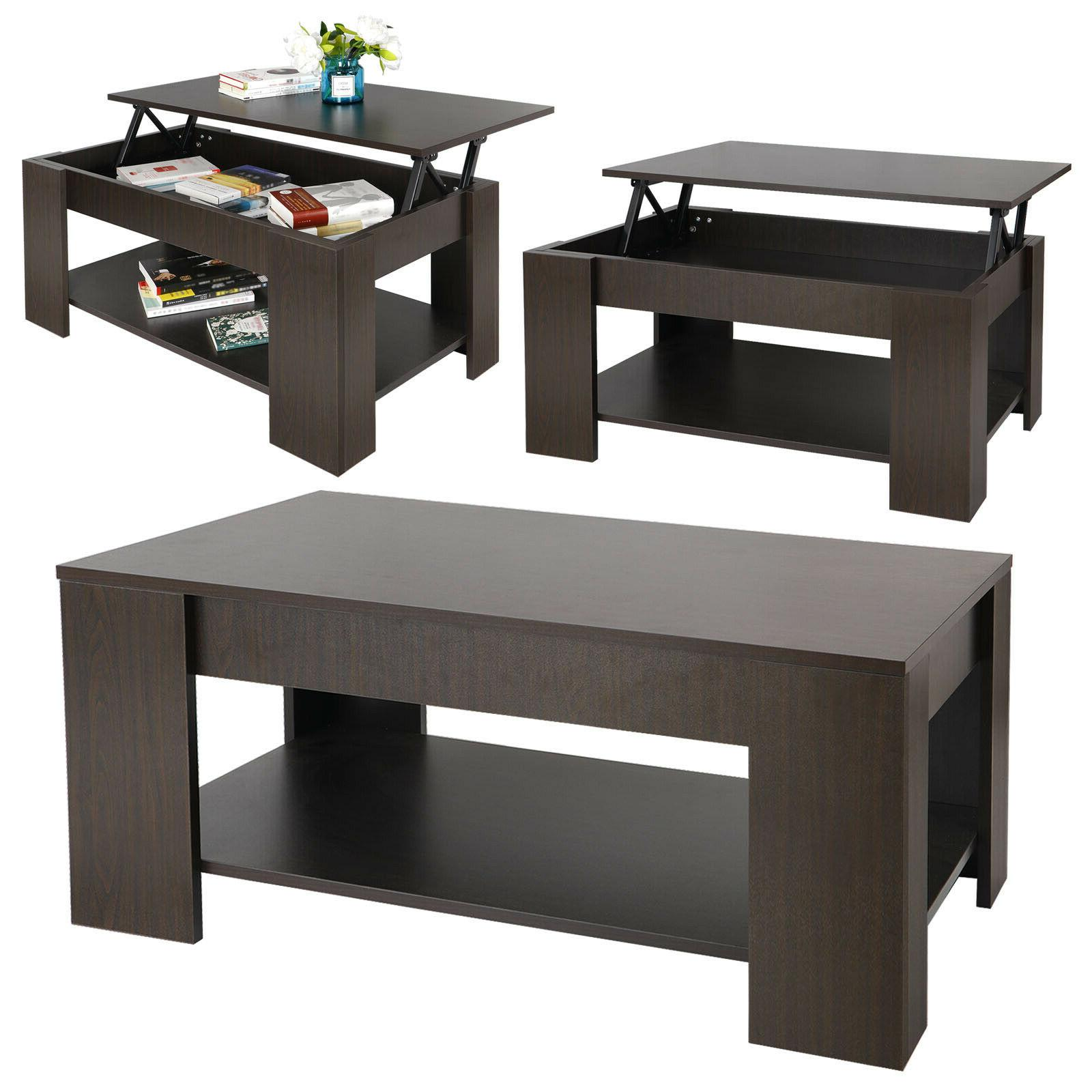 Lift-up Coffee Table Hidden Storage Cabinet Longlasting Brown Finish