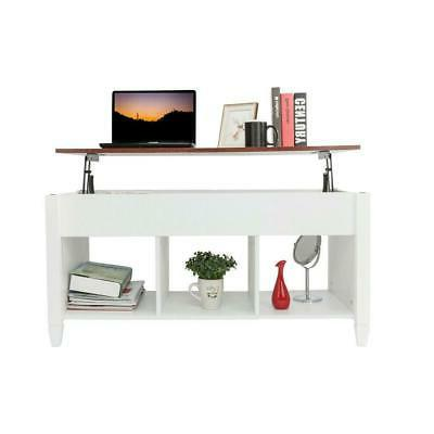 Lift Top Coffee Table w/ Hidden Compartment Storage Shelves