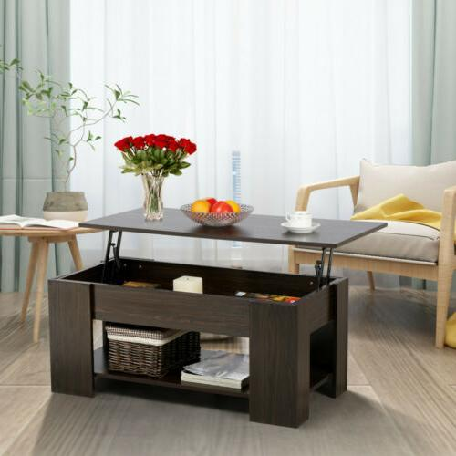 Adjustable Lift Top Coffee Table with Hidden Storage Compart