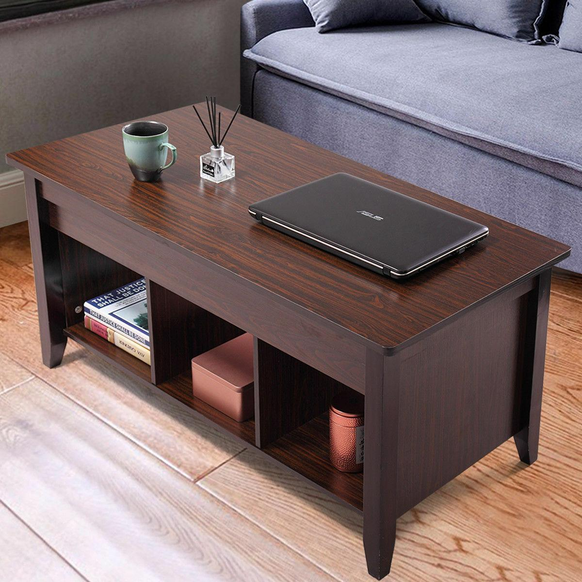 Lift Top Coffee Table w/ Storage Shelf Living Room Furniture