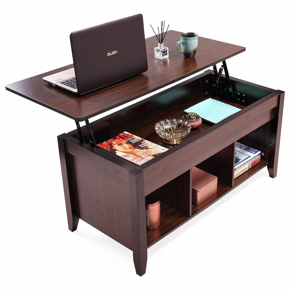 Lift Top Coffee Table w/ Hidden Compartment Storage Shelf Li