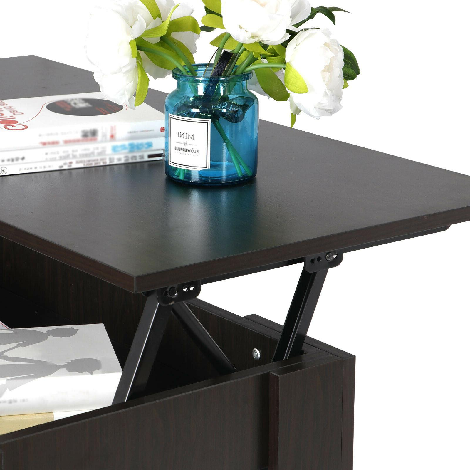 Lift-up Table Storage Brown