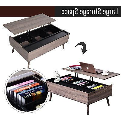 Lift-top Table with Storage Grey