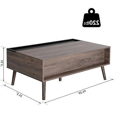 Lift-top Table Storage and Grey Wood