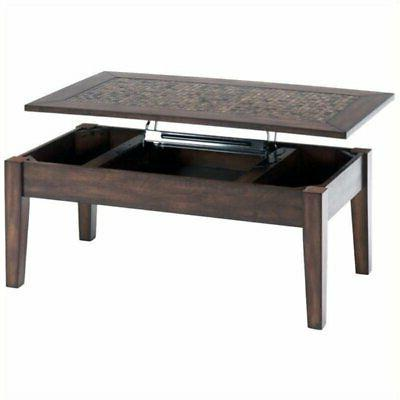 Bowery Hill Lift Top Coffee Table with Tile Inlay in Baroque