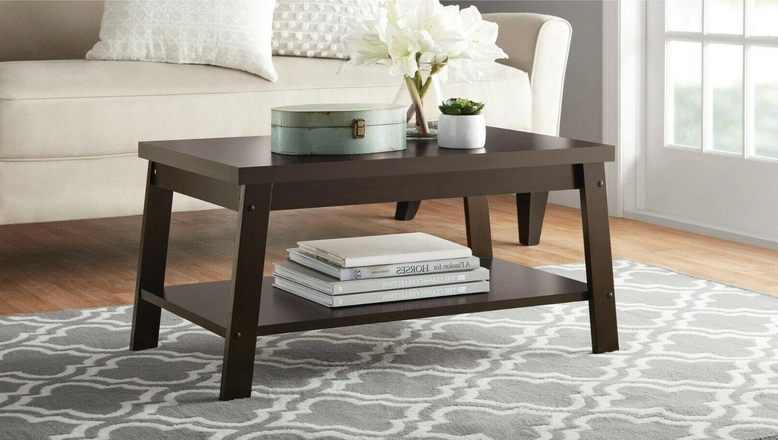 Living Room Coffee Table Storage Shelf Furniture Home Decor