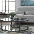 Living Room Furniture Glass Coffee Table Round Gray Lower Sh