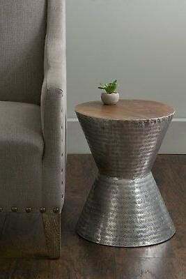 lupton silver teakwood round accent end coffee