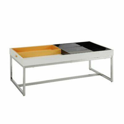 maisie coffee table in white and chrome