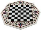 Marble Coffee Chess Table Top Jasper Mosaic Floral Art Marqu