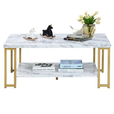 Marble Print 2-Tier Table Furniture