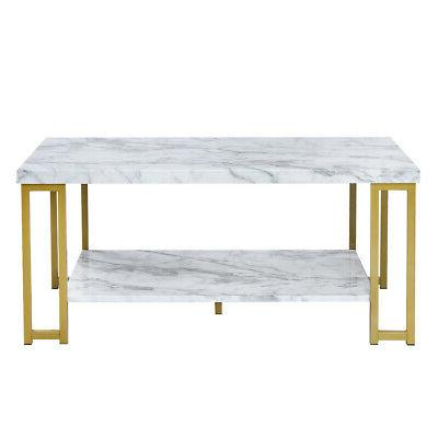 Marble 2-Tier Rectangular Cocktail Tea Table Accent