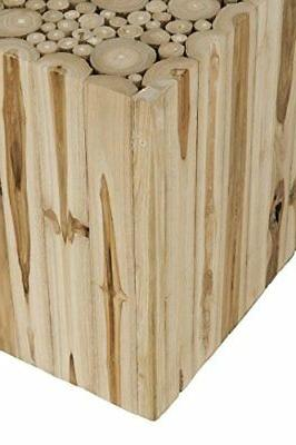 East at Brown Teakwood Square Accent Table, 18x18x18