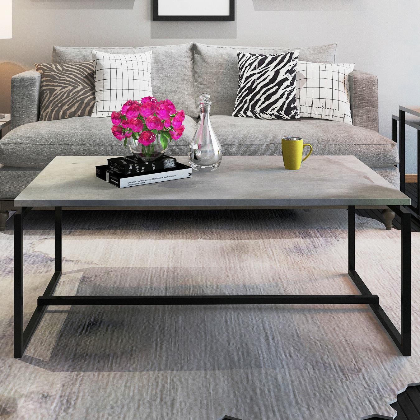 Metal Frame Cocktail Coffee Table Cement Color Rectangular A