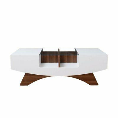 Furniture of America Mitch Coffee Table in White and Light W