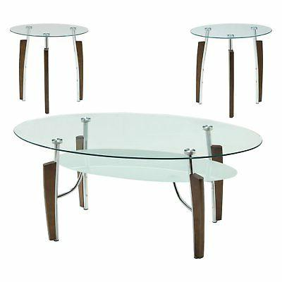 Coaster Furniture Piece Glass Top Coffee Table Set