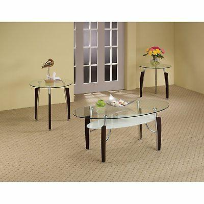 Coaster 3 Piece Glass Top Table Set