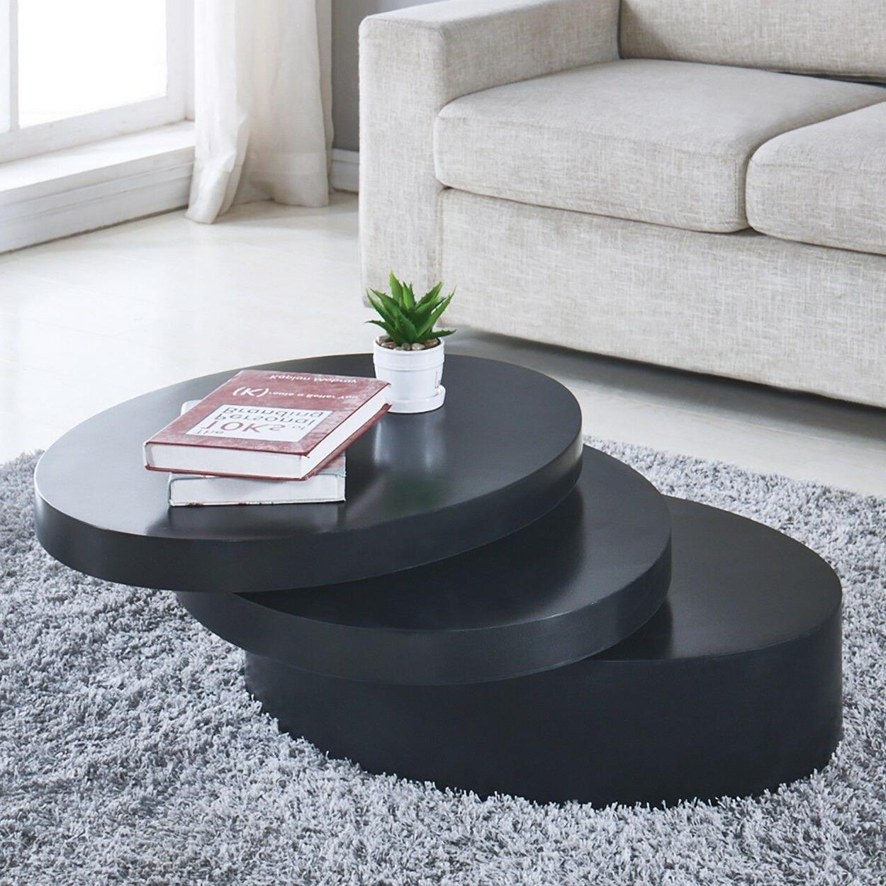 Modern Coffee Table Round Rotating Room