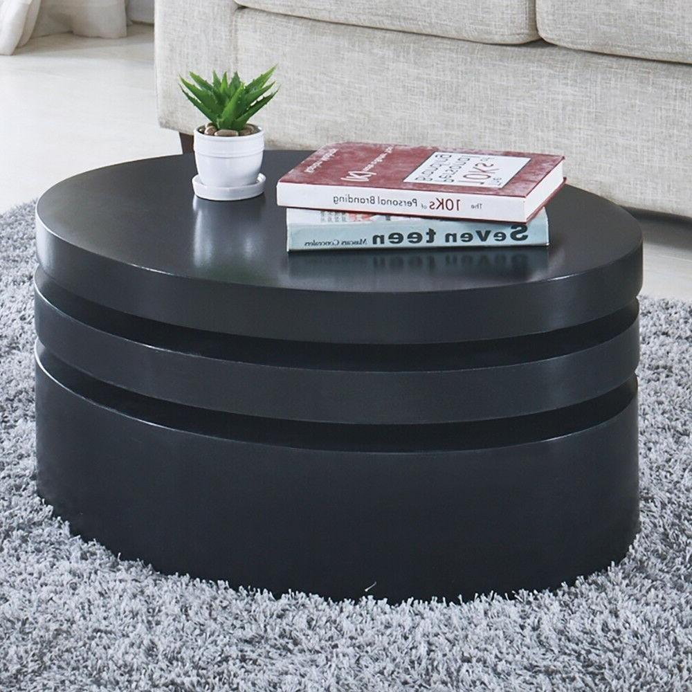 Modern Black Table Round Contemporary Living Room