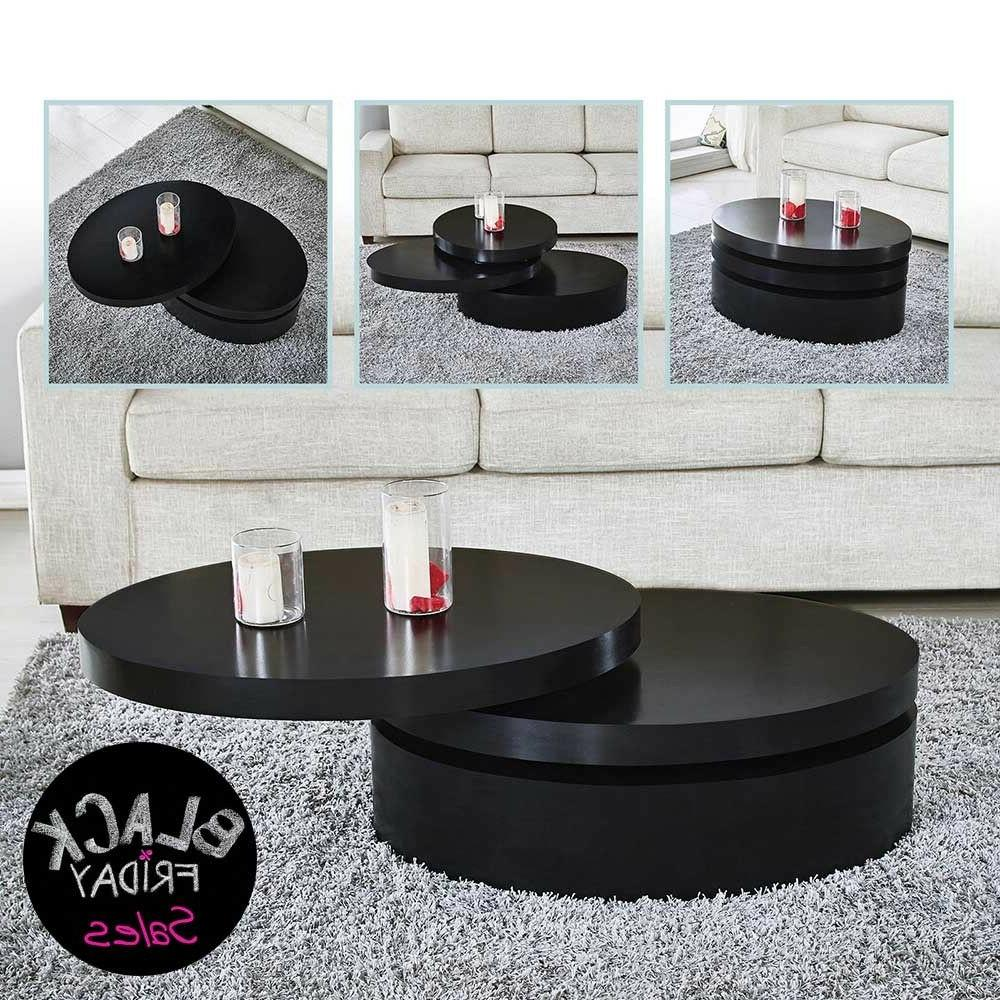 modern black coffee table round rotating contemporary