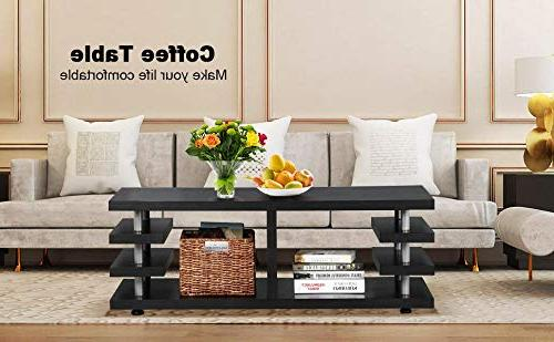 Yaheetech Coffee Table Legs Multi Tier Design with Storage Room