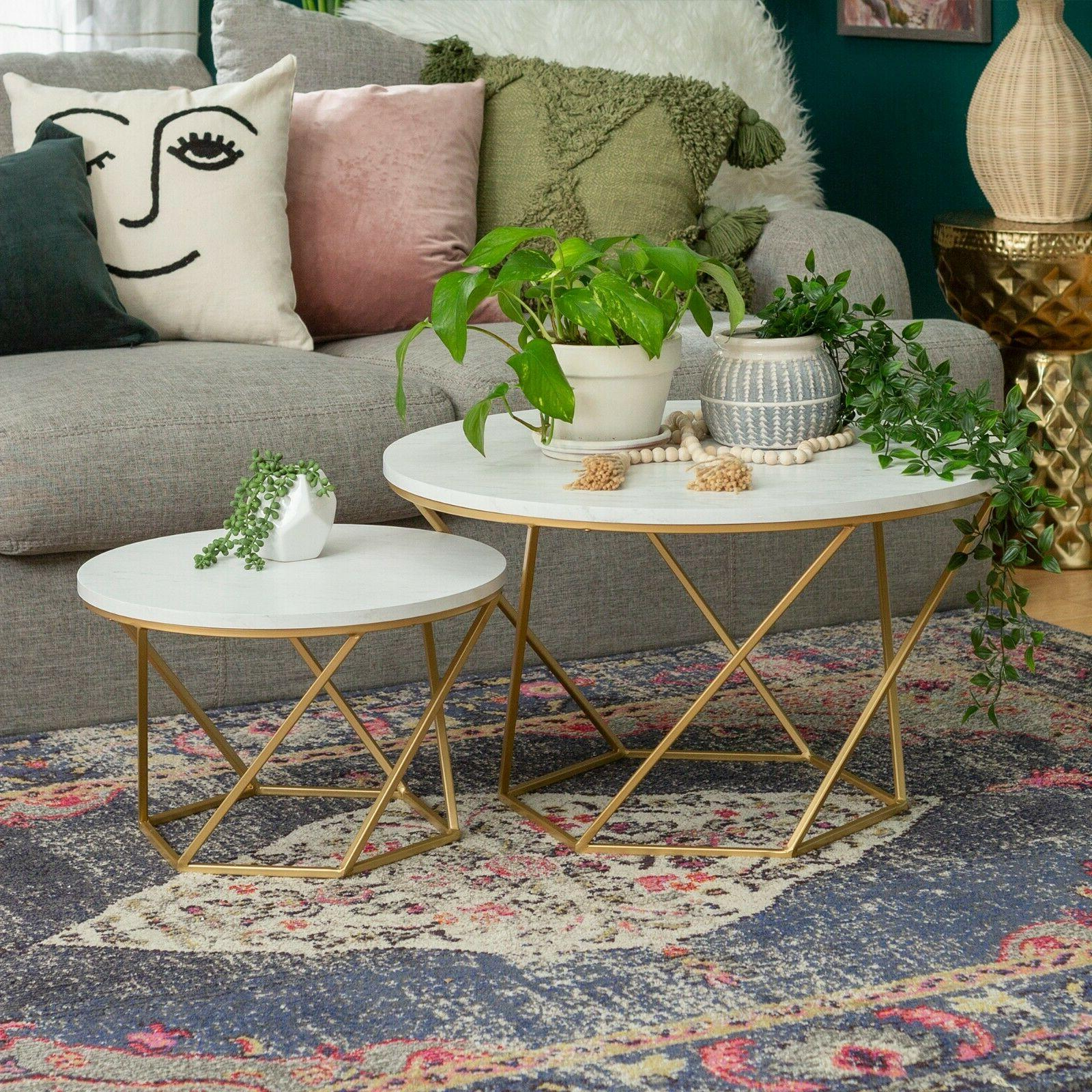 Modern Nesting Table Faux White Marble/Gold