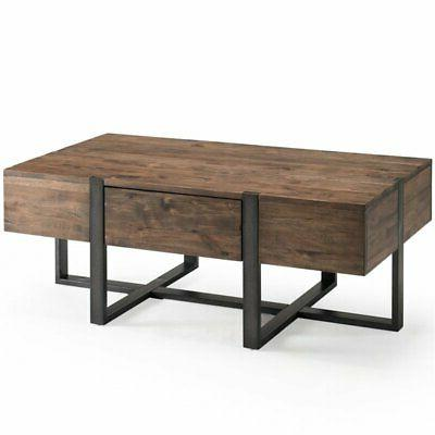 modern coffee table in rustic honey