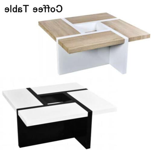 Modern Coffee Table MDF High Gloss Lving room Home Square Wh