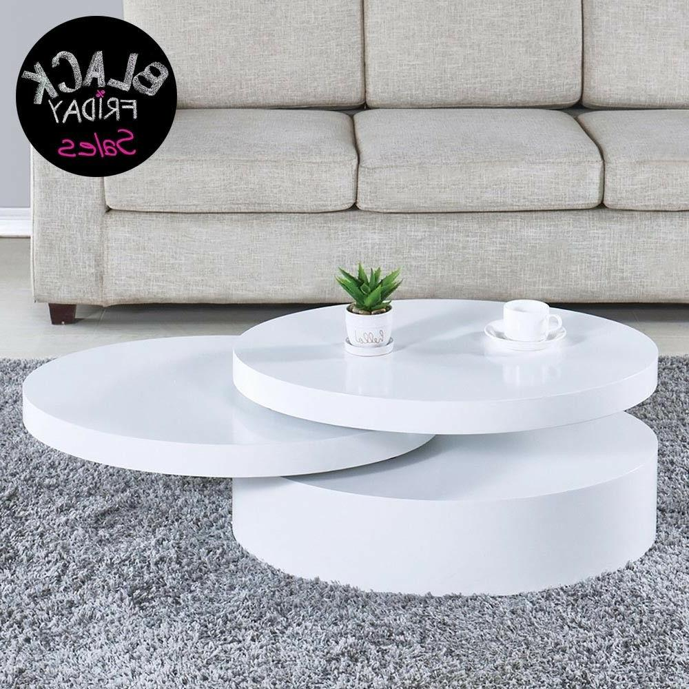 modern coffee table white round rotating contemporary