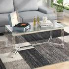 Modern Contemporary Coffee Table Glass Top Acrylic Legs Chro