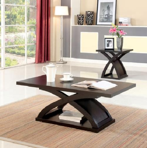 Modern Espresso Wood Coffee and End Table Set X Shaped Base