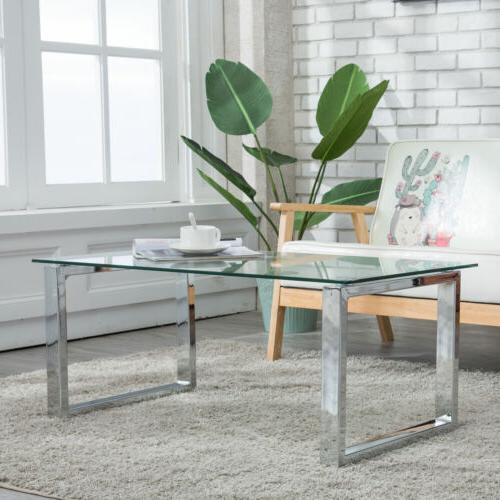 modern glass and stainless steel coffee table
