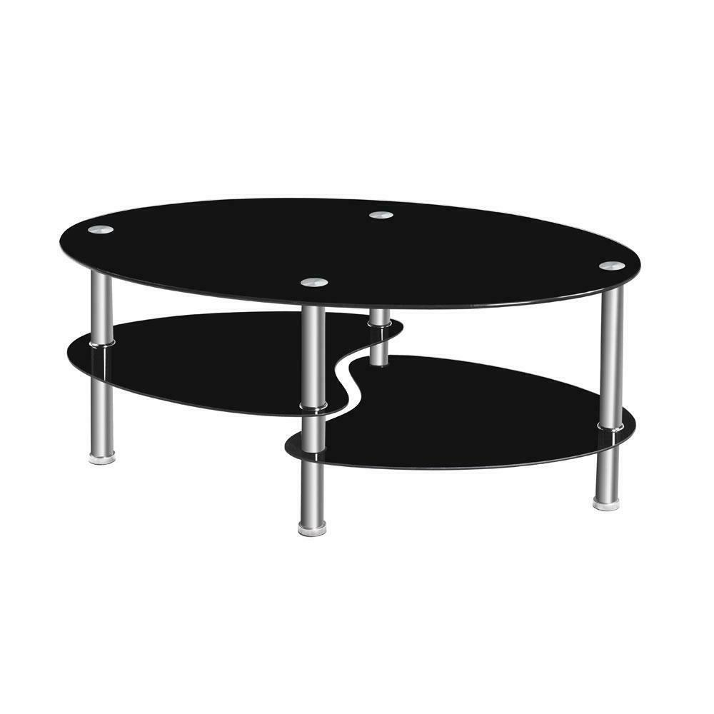 modern glass chrome coffee table end side