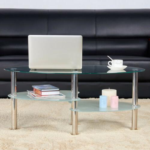 Modern Glass Top Chrome Base Living Furniture