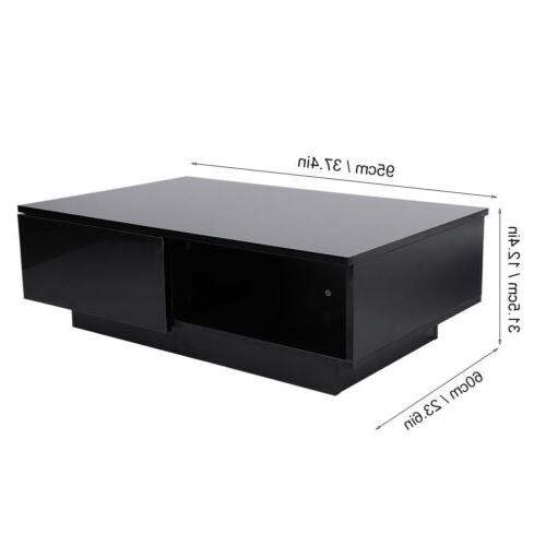 Modern High LED Table w/ Drawers Living Room Furniture