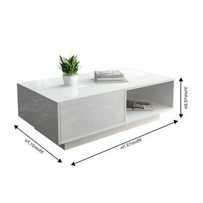 Modern High LED Coffee Table w/ Control Drawer Living Decor