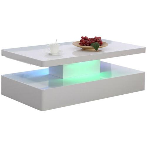 modern high gloss white led coffee table