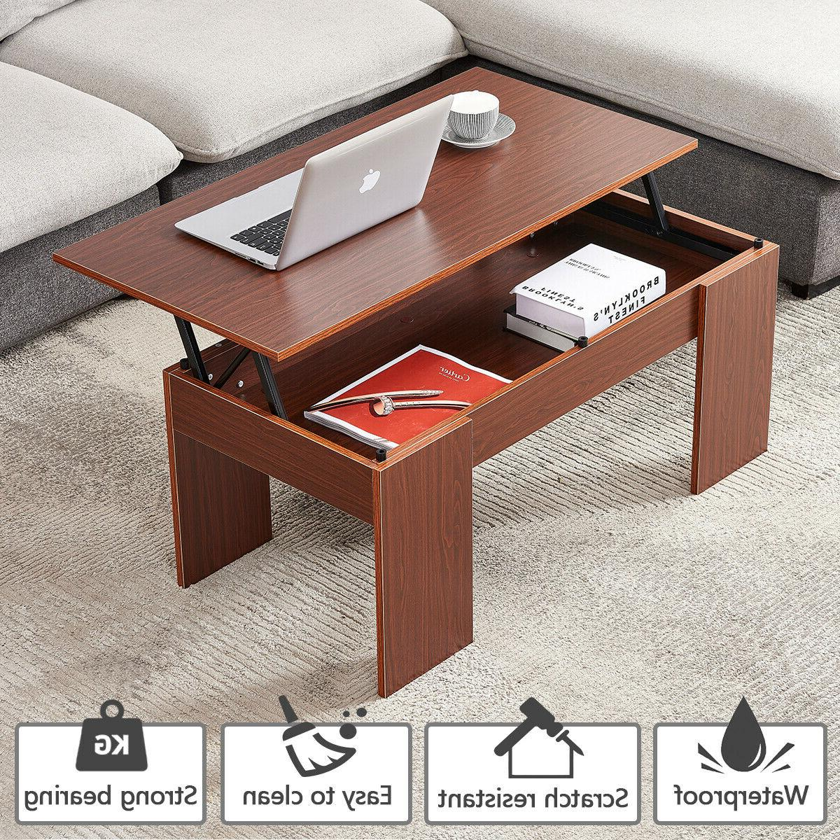 Modern Lift Top Coffee Table w/ Hidden Compartment Storage L