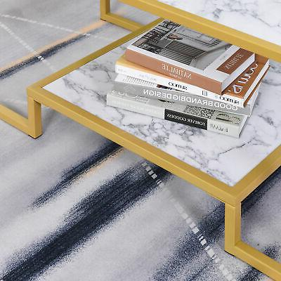 Modern Marble Coffee Table End with Storage Office