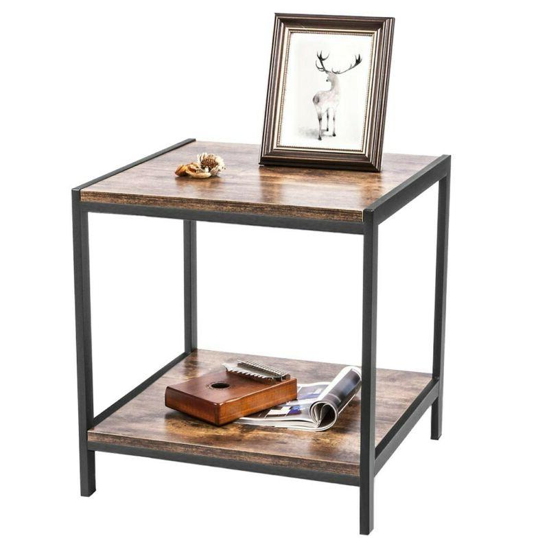 2 Tier Coffee Sofa Couch Living Nightstand