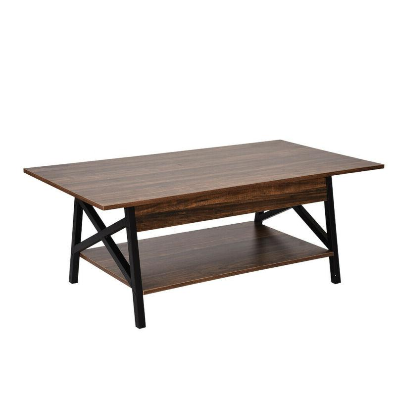 Modern Wood Chrome Coffee Table with Storage Living Furniture