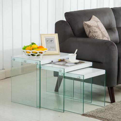 modern nest of 3 coffee table side