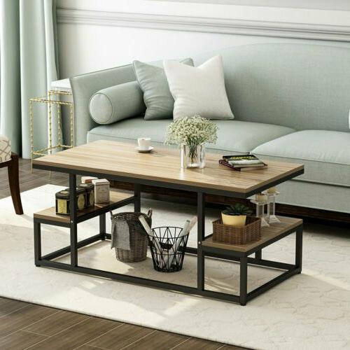 Modern Oak Coffee Table with Large Open Storage Shelf Living