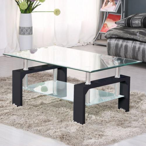 Rectangular w/Shelf Chrome Legs Living Room Furniture