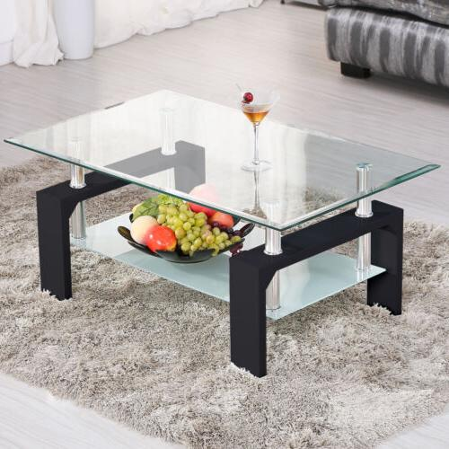 Rectangular Glass Coffee Table w/Shelf Chrome Legs Living Ro
