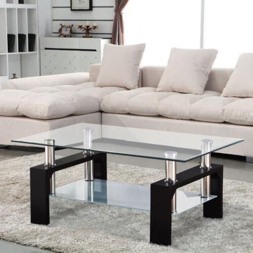 Rectangular Glass Coffee Table w/Shelf Chrome Legs Living Room